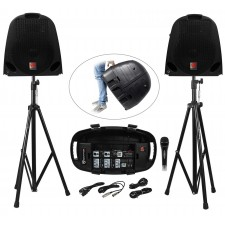 Rockville GB1 GIG-IN-A-BOX Portable PA System Mixer/Amp+Speakers+Stands+Mic+Case