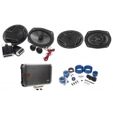 "Pair Rockville RV69.2C 6x9"" Component Speakers+6x9"" 4-Way Speakers+4-Ch Amp+Kit"