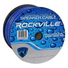 Rockville R14G500MS-BL 500 Foot Spool Marine Waterproof 14 AWG Speaker Wire Blue