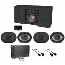 "2009-2015 Ford F-150 Super Crew Cab Powered 10"" Subwoofer+Box+(4) Speakers+Amp"