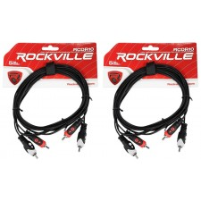 2 Rockville RCDR10B 10' Dual RCA to Dual RCA Patch Cable 100% Copper