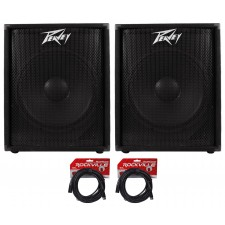 """(2) Peavey PV118D 18""""A 300 Watt Active/Powered PA DJ Subwoofer Sub +FREE Cables"""