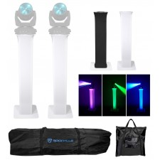 2 Totem Stands+Black+White Scrims For 2 Chauvet Intimidator Beam LED 350 Lights