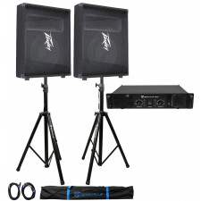 """(2) Peavey PV 12M 12"""" Floor Speakers PV12M+Rockville RPA9 Amp+Stands+Cables+Case"""