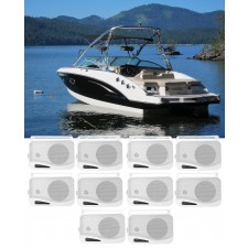 """(10) Rockville HP4S-8 4"""" Marine Box Speakers with Swivel Bracket For Boats"""