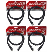 (4) Rockville RDX3M5 5 Foot 3 Pin DMX Lighting Cables 100% Copper Female to Male