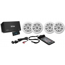 Boss ASK904.B.64 4 Channel 500W Marine/Boat Amplifier W/Bluetooth & 4 Speakers