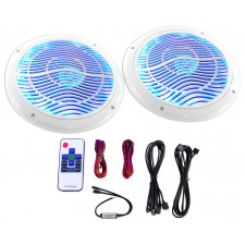 """Rockville RMC80LW 8"""" 800w 2-Way White Marine Speakers w Multi Color LED + Remote"""