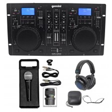 Gemini CDM-4000 2 Ch. Dual DJ Mixer Media Player MP3/CD/USB+Headphones+Mic+Cable