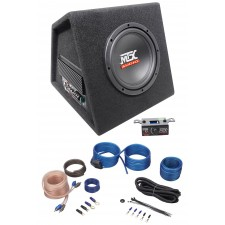 """MTX RTP8A 8"""" 120w RMS Powered Subwoofer In Vented Sub Box Enclosure+Wire Kit"""