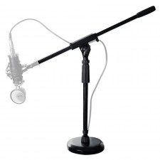 Rockville Desktop Mic Stand w/ Steel Round Base + Fixed Boom + Rubber Pad