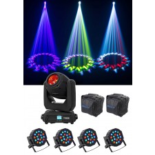 Chauvet DJ Intimidator Hybrid 140SR Moving Head+(4) Par Can DMX Wash Lights+Bag