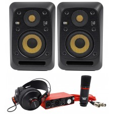 "(2) KRK V4S4-NA 4"" Powered Studio Monitors + Interface + Microphone + Headphones"