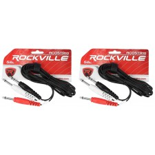 "2 Rockville RCDSTR10B 10' 1/4"" TRS to Dual Mono 1/4"" TS Y-Cable 100% Copper"