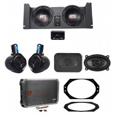 """1997-2006 Jeep Wrangler TJ MTX 10"""" Powered Subs+Box+Front+Rollbar Speakers+Amp"""