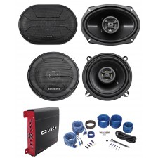 "(2) Hifonics ZS693 6x9"" 800W Speakers+(2) 5.25"" Speakers+4-Ch Amplifier+Amp Kit"
