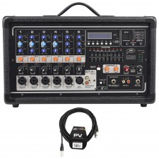 Peavey Pvi6500 400 Watt 6-Ch. Powered Live Sound Mixer+Bluetooth+Cable PVI 6500