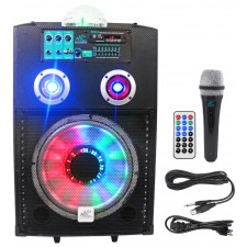 """NYC Acoustics N12A 12"""" 400w Powered Speaker Bluetooth, Party Lights+Microphone"""