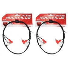 (2) Rockville RCDR3RR 3' Dual RCA to Dual RCA Right Angle Cables 100% Copper