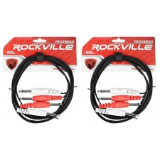 "2 Rockville RCDSS10B 10' Dual Mono 1/4"" TS to Same Cable"