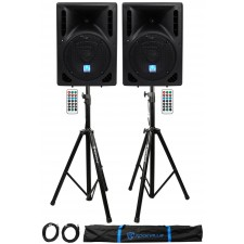 """(2) Rockville RPG8BT 8"""" 800w Powered BlueTooth/USB DJ Speakers+Stands+Cables"""