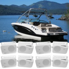 "(8) Rockville HP4S 4"" Marine Box Speakers with Swivel Bracket For Boats"