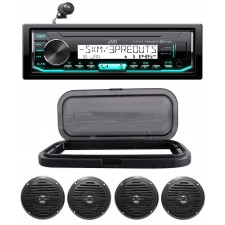 "Hot Tub Audio System w/ JVC Stereo Bluetooth Receiver+(4) 5.25"" Black Speakers"