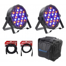 (2) FARENHEIT FHB-154 LED RGBWY DMX LED PAR Can Wash Lights+Cables+Carry Bag