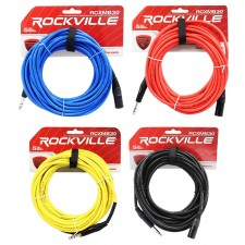 4 Rockville 30' Male REAN XLR to 1/4'' TRS Balanced Cable OFC (4 Colors)