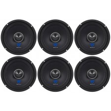 "(6) Rockville RXM68 6.5"" 900w 8 Ohm Mid-Range Drivers Car Speakers, Kevlar Cone"