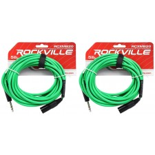 2 Rockville RCXMB20-G Green 20' Male REAN XLR to 1/4'' TRS Balanced Cables