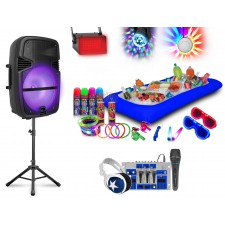 Technical Pro Rechargeable Bluetooth LED Party Speaker+Mixer+Stand+Mic+Lights