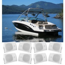 """(8) Rockville HP5S-8 5.25"""" Marine Box Speakers with Swivel Bracket For Boats"""