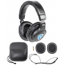 Rockville DJ1500 DJ Stereo Headphones w/ Detachable Cable, Case+Extra Ear Pad