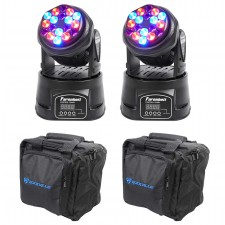 2) FARENHEIT FH318MH DMX RGB Moving Head Beam Club Stage Party Lights+Carry Bags
