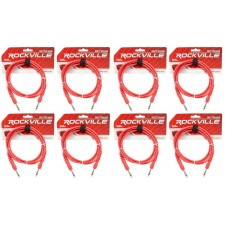 8 Rockville RCTR106R Red 6' 1/4'' TRS to 1/4'' TRS  Cable 100% Copper