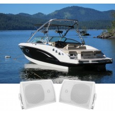 "Pair Rockville HP5S 5.25"" Marine Box Speakers with Swivel Bracket For Boats"
