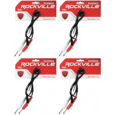 """4 Rockville RCDSM3B 3' 3.5mm 1/8"""" TRS to Dual 1/4"""" Y Cable 100% Copper"""