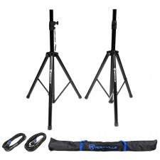 "Pair of Rockville Tripod Speaker/Lighting Stands+(2) 20 Foot 1/4""-SpeakOn Cables"