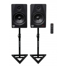 "Rockville HTS8B 8"" 1000W Powered Home Theater Speakers w/Bluetooth/FM/USB+Stands"