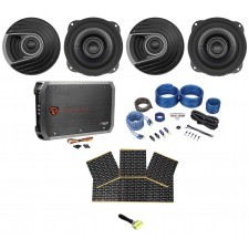 "4) Polk Audio MM522 5.25"" 1200 Watt Car Audio Speakers+Amplifier+Amp Kit+Rockmat"