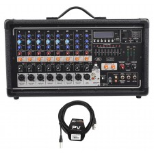 Peavey Pvi8500 400 Watt 8-Channel Powered Live Sound Mixer w/ Bluetooth+Cable