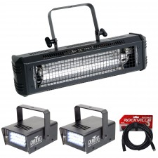 American DJ Mega Flash DMX 800 Watt Compact Strobe Light+(2) Mini Strobes+Cable