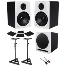 "(2) Rockville APM8W 8"" Powered Studio Monitors+Active 10"" Subwoofer+Stands+Pads"