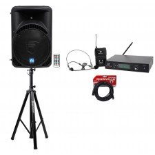 "Rockville BPA15 15"" Powered 800w DJ PA Speaker w Bluetooth+Stand+Headset+Cable"