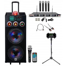 "NYC Acoustics 12"" Karaoke Machine/System+(4) Mics+Tablet Stand 4 ipad/iphone/TV"