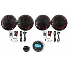 "Hot Tub Audio System w/ Bluetooth Gauge Hole Receiver+4) 6.5"" Black LED Speakers"