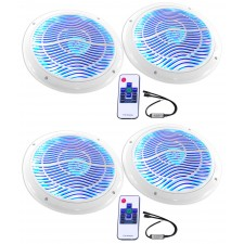 """(4) Rockville RMC80LW 8"""" 1600w White Marine Speakers w Multi Color LED + Remote"""
