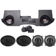 "2002-2016 Dodge Ram Quad/Crew Cab Powered Dual 10"" MTX Subs+Box+(4) MTX Speakers"