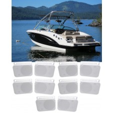 """(10) Rockville HP65S 6.5"""" Marine Box Speakers with Swivel Bracket For Boats"""